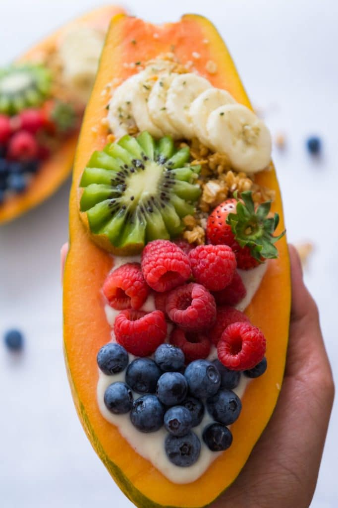 Papaya bowl vegan with fresh fruits