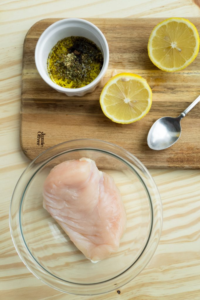 chicken breast with marinate mix and lemon