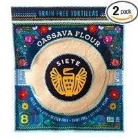 Siete Cassava Flour Grain Free Tortillas, 8 Tortillas Per Pack, 2-Pack, 16 Tortillas