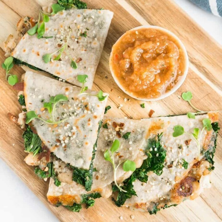 HEALTHY KALE AND WHITE BEAN QUESADILLA