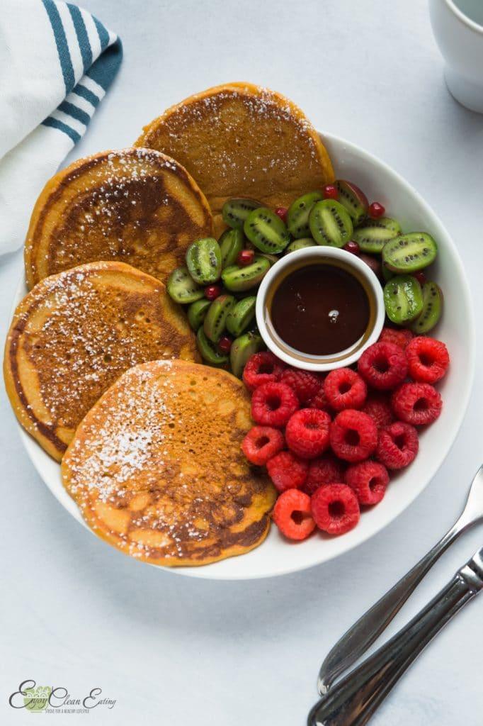 paleo pancakes with kiwi berries and raspberries