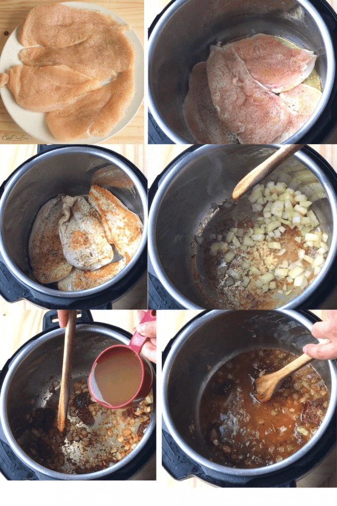 process to make the recipe, sautés and pressure cook