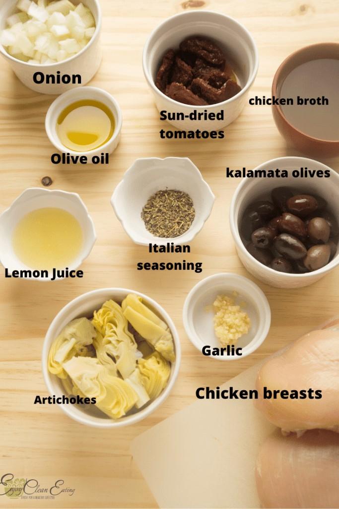 ingredients for mediterranean chicken instant pot
