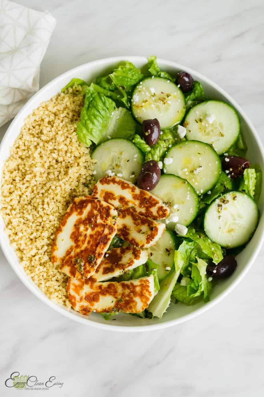 quinoa bowl  greek  salad