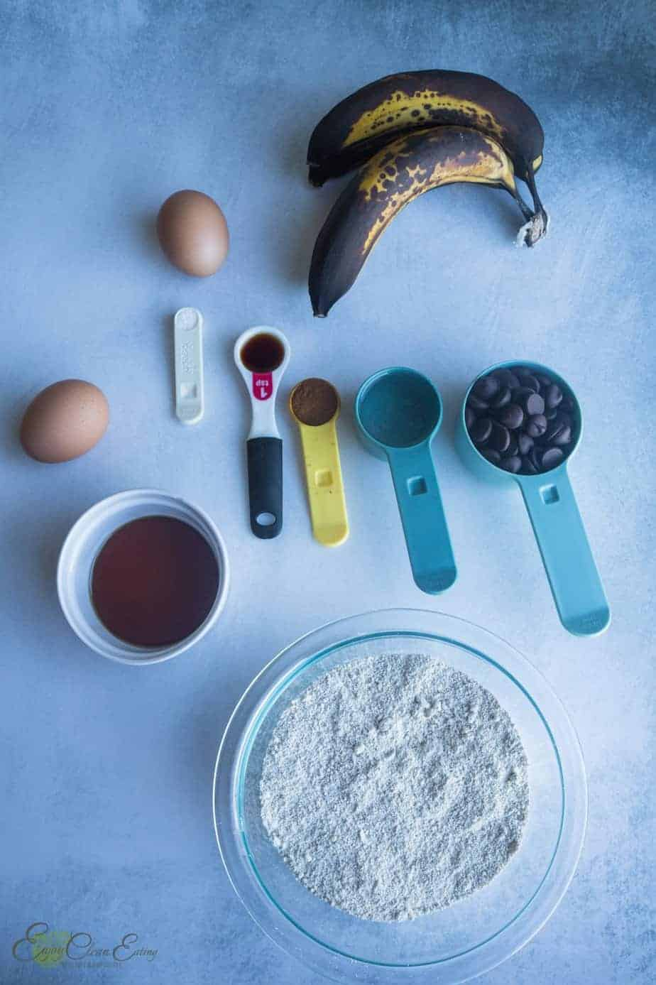 ingredients to make banana oatmeal cupcakes