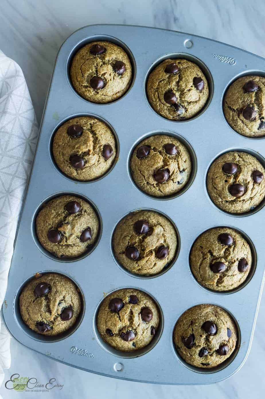after baking the oat flour banana muffins let it cool for 5 minutes
