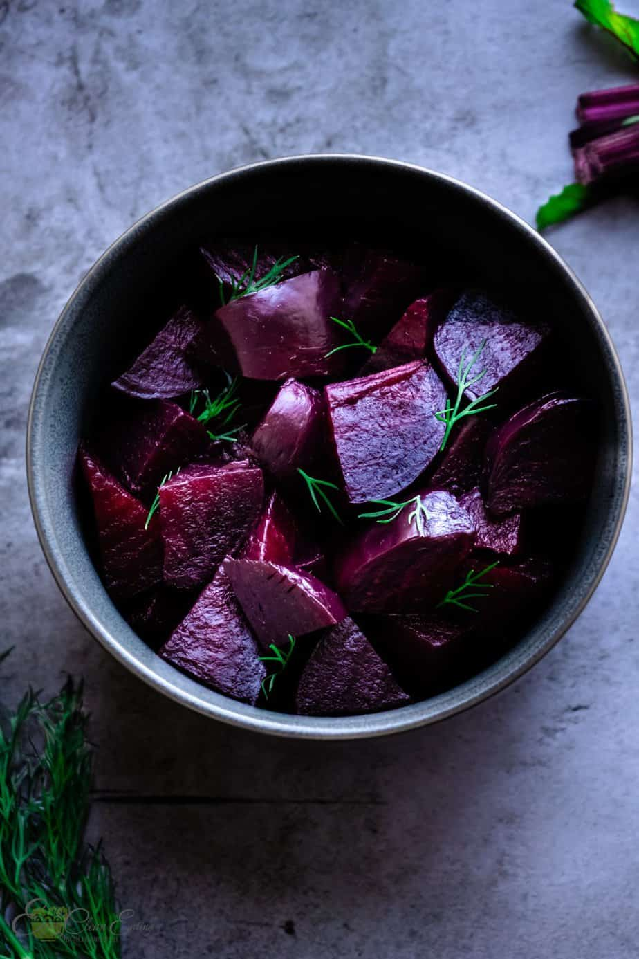 chopped pressure cooked beets in the instant pot with some dill sprinkle on top.