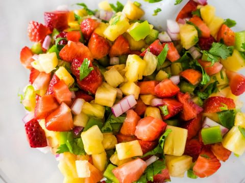 pineapple salsa in a mixing bowl
