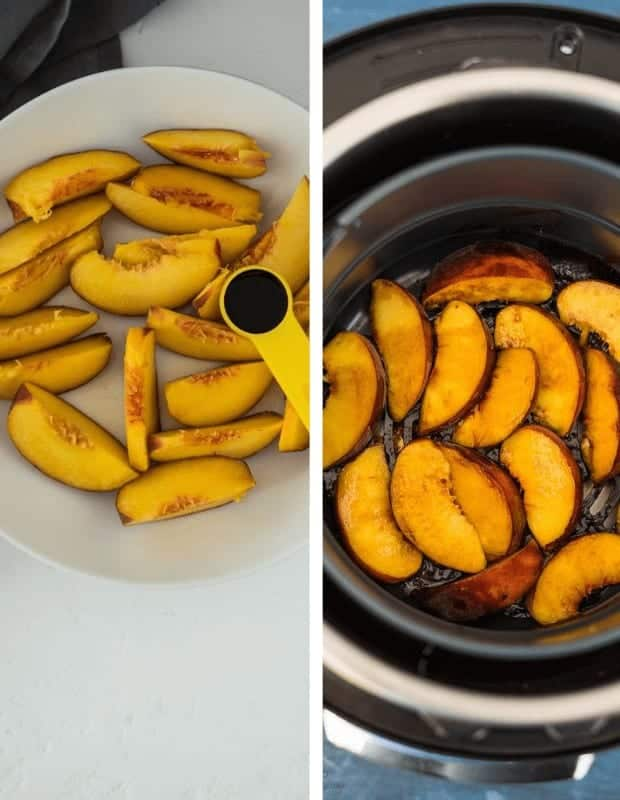 peaches with a teaspoon of balsamic vinegar, before cooking in a round plate and after cooking in the basket
