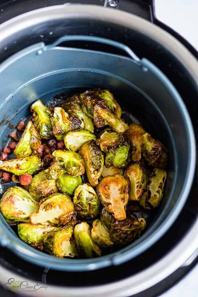 reheating the sprouts in the basket. is easy and the get extra crispy.