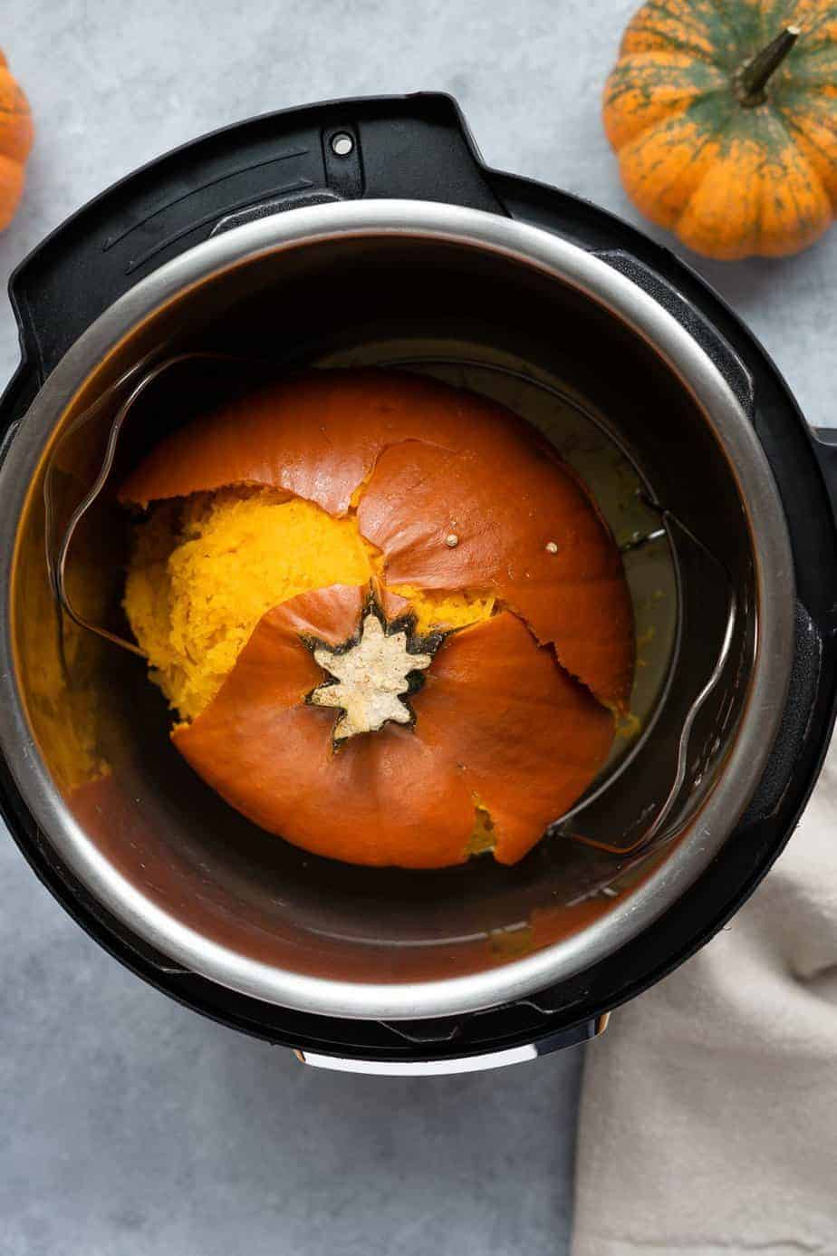 After pressure cooking the pumpkin to make puree.
