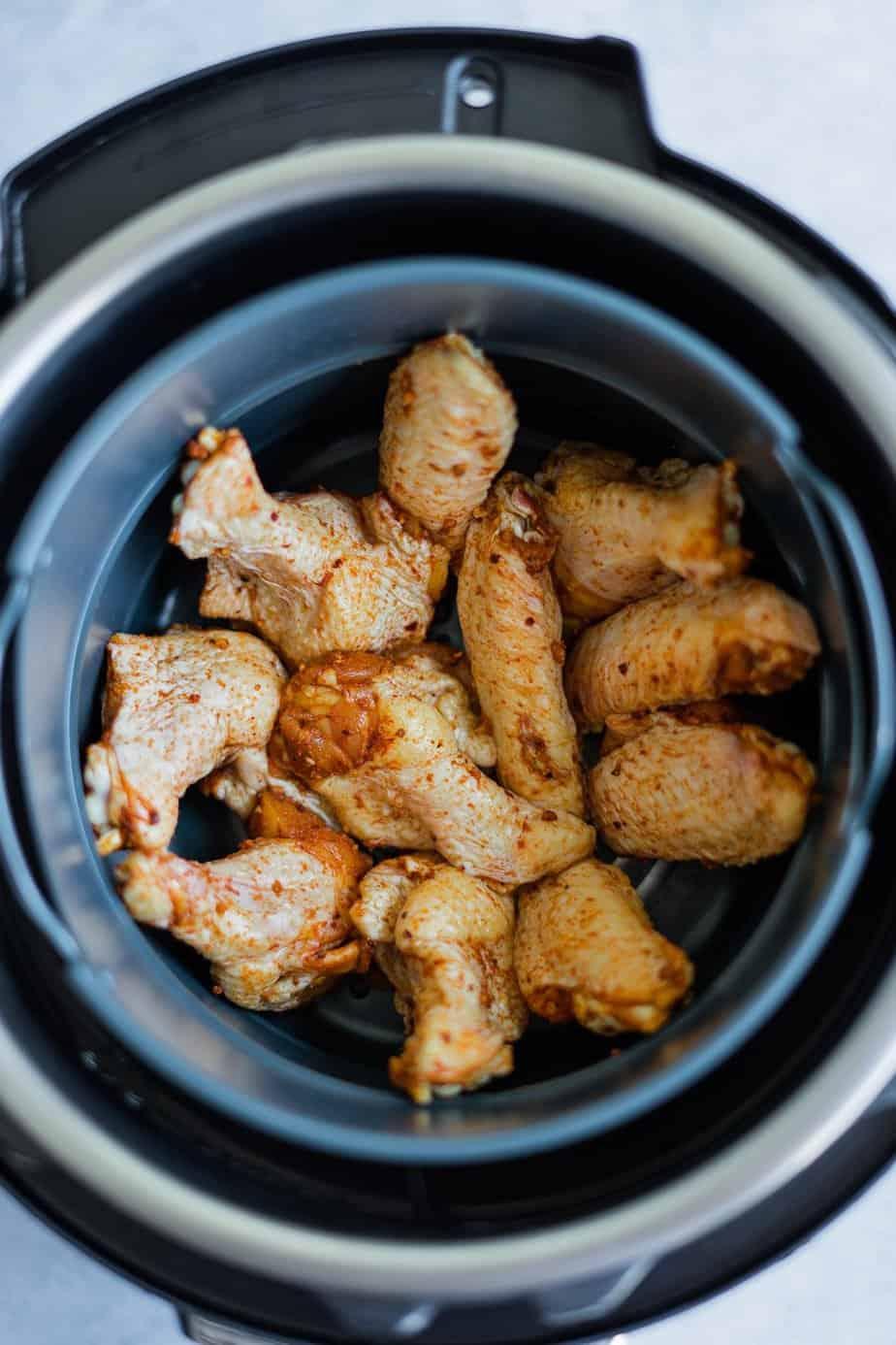 wings inside the air fryer basket