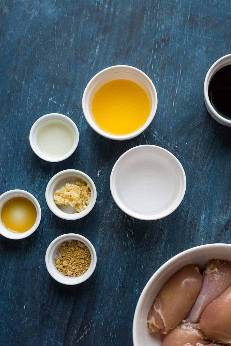 simple ingredients measured in small bowls
