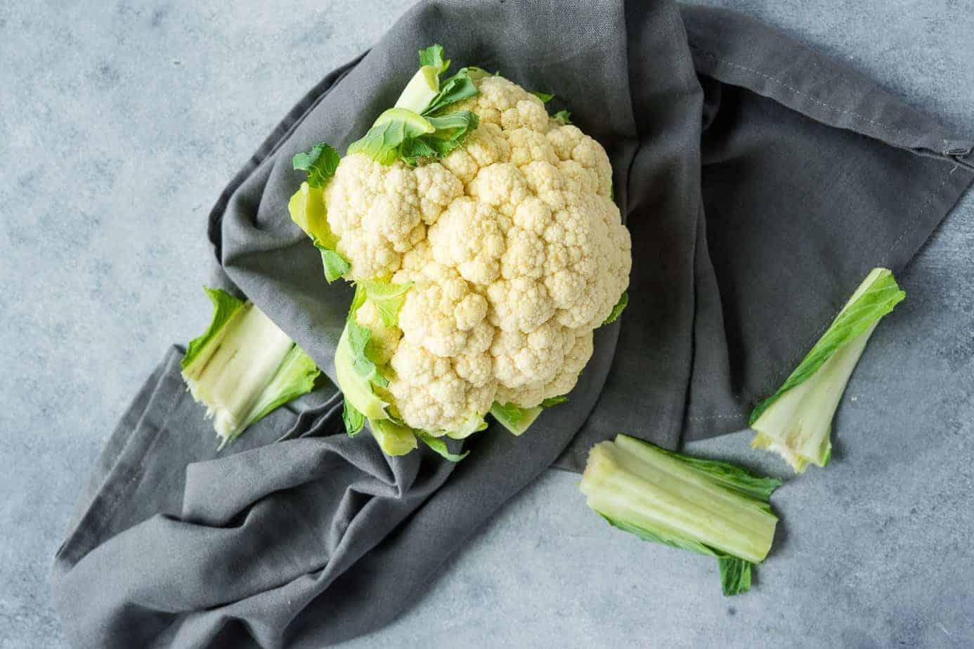 a whole head of fresh cauliflower