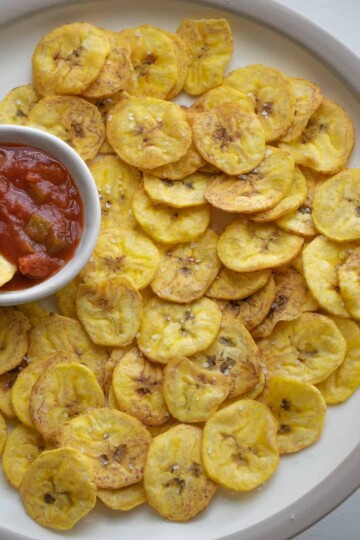 air fryer plantain chips. serve with dipping sauce and sprinkle with sea salt.