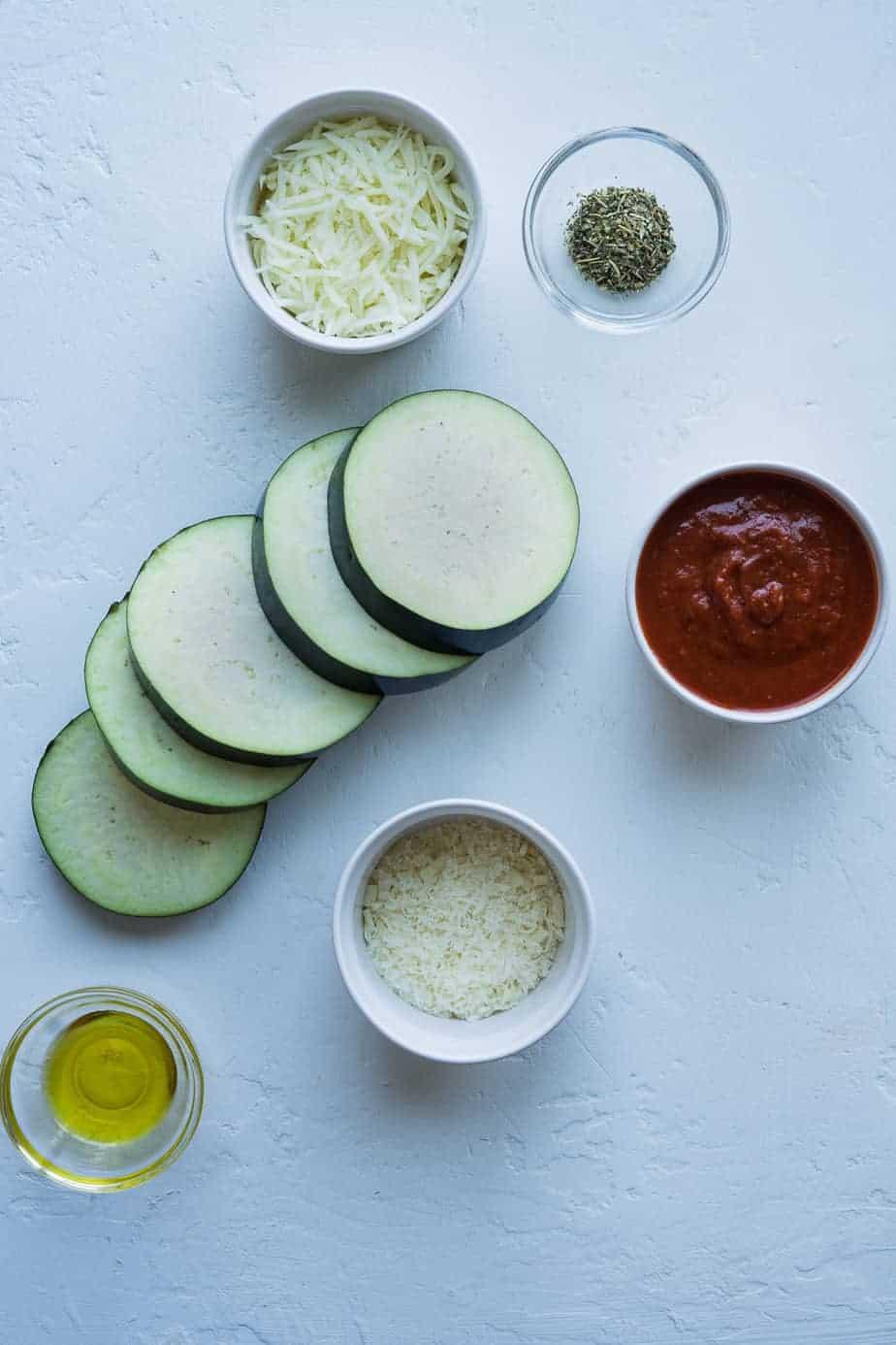 Ingredients to make eggplant parmesan in the air fryer.