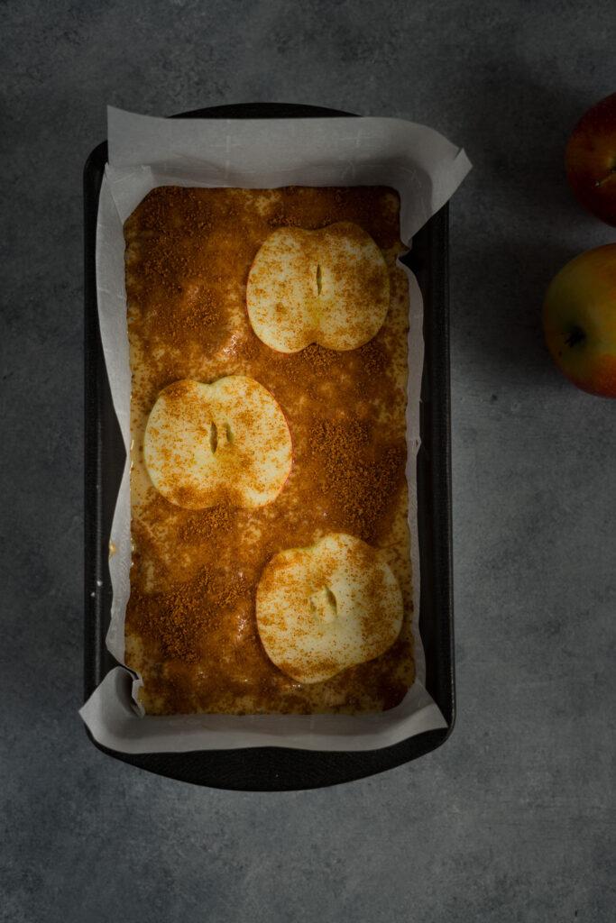 the mixture is in the loaf pan sprinkle with sugar cinnamon.