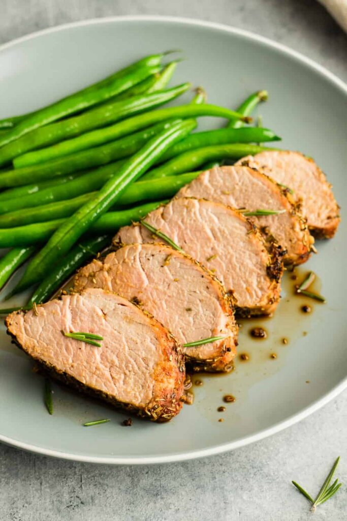 Juicy and tender serve with green beans.