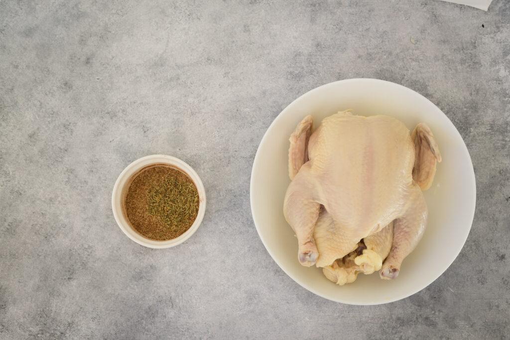 Ingredients to cook Cornish hen.