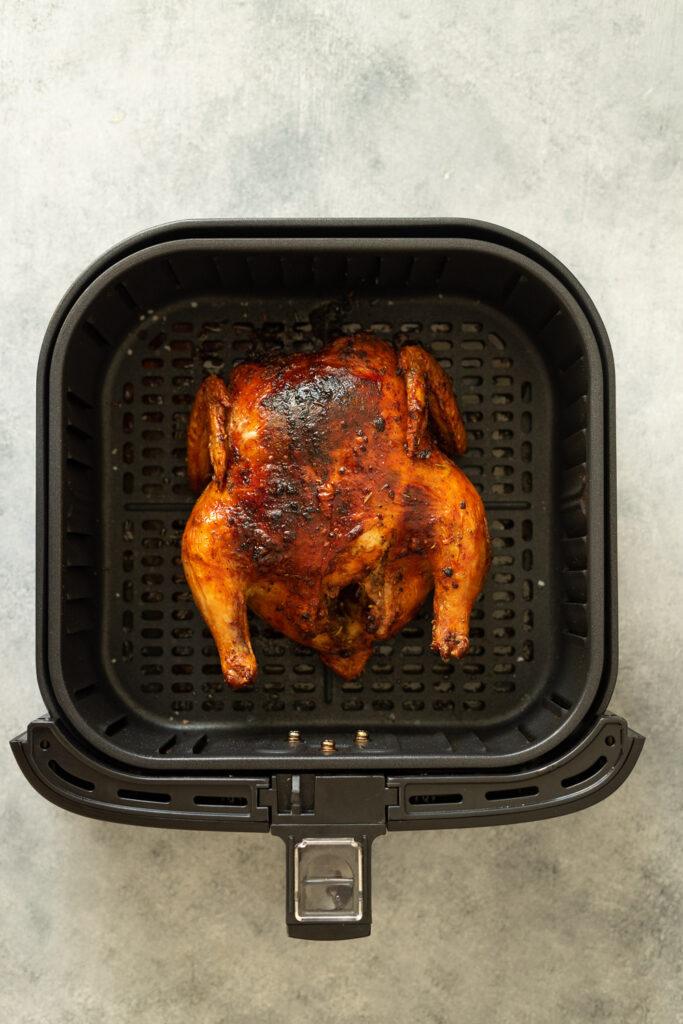 how to cook Cornish hen in air fryer. Juicy Cornish hen in air fryer basket.