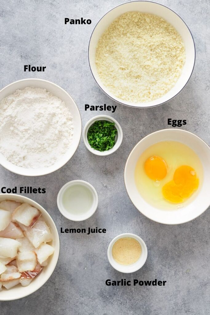 Ingredients to make breaded air fryer fish nuggets.