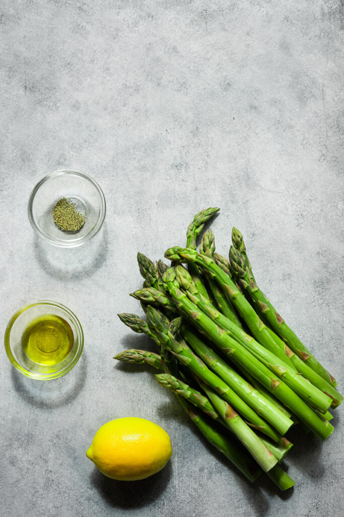 Ingredients to make asparagus in the air fryer.