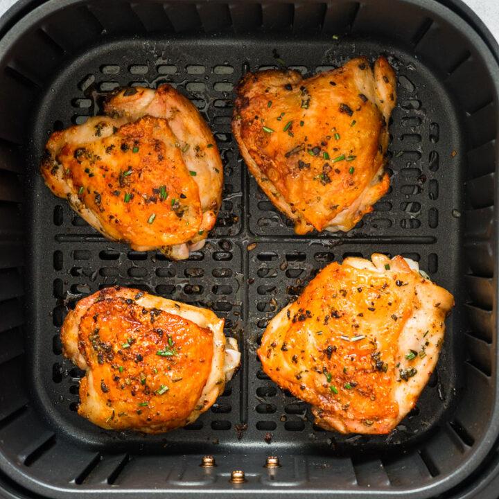 Easy Air Fryer Chicken Thighs Bone-in, Skin-on