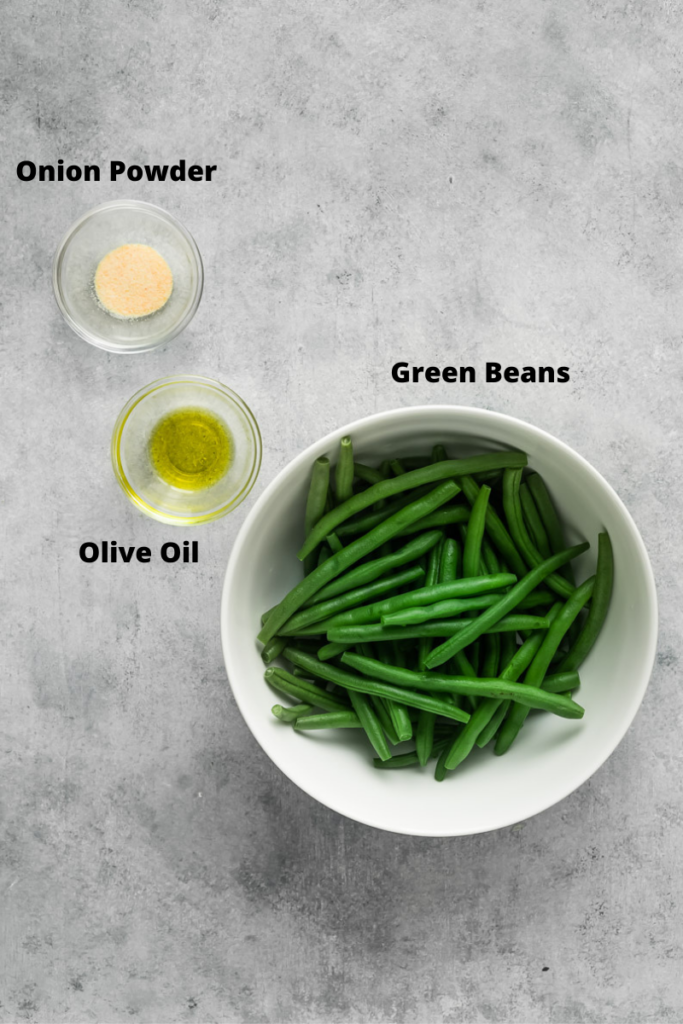 Ingredients to make green beans in the air fryer.