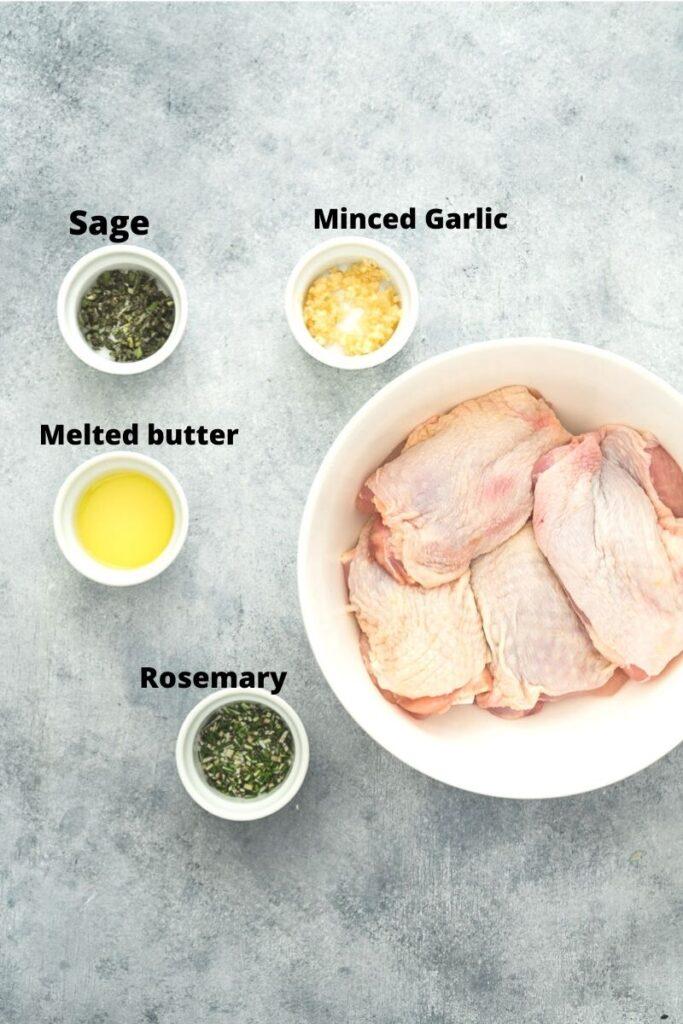 Ingredients to make crispy chicken thighs.