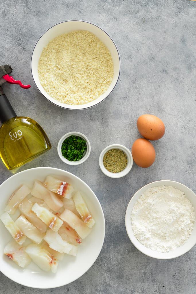 ingredients to make fish fingers in air fryer.