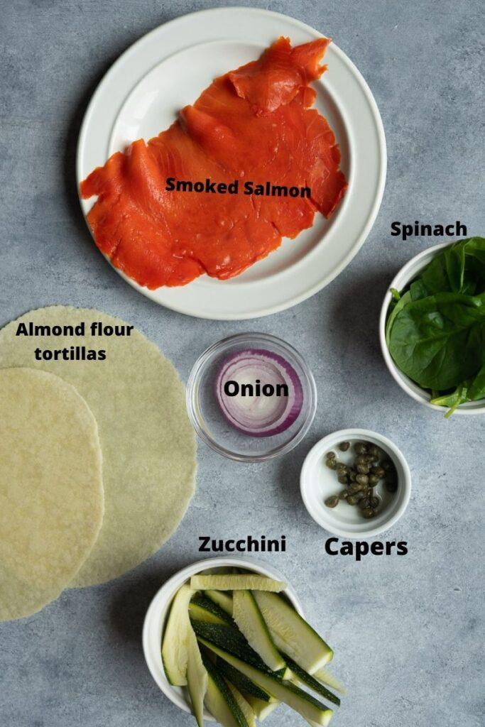 ingredients to make smoked salmon taquitos.